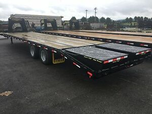 Gator Made Gooseneck Flat Bed Equipment Trailer 30 5 With Goliath Wide Ramps