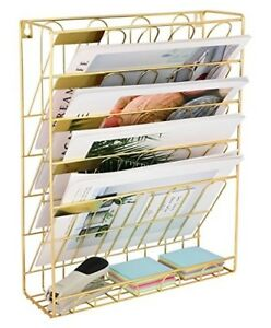Superbpag Hanging Wall File Organizer 5 Slot Wire Metal Wall Mounted Document H