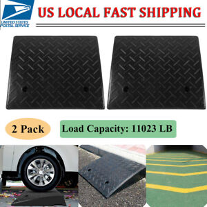 2 Pack 5 Ton Rubber Curb Ramp 4 3 Height End Caps Portable Us Stock