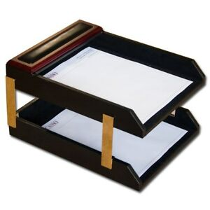 Rosewood leather Double letter Tray Set