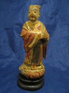 Antique Polychrome Gilt Carved Wood Oriental Chinese Figure Of Man Wood Base