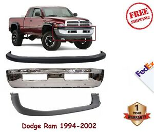 Front Bumper Kit For 1994 01 Dodge Ram 1500 2500 3500 Chrome Steel Up