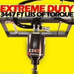 Mcmillen X2475 Skid Steer Auger 3000psi Extreme Duty Gear Drive winter Special