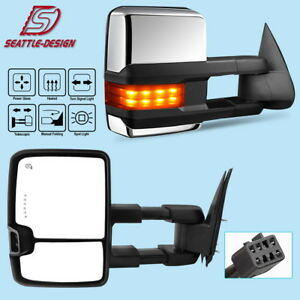 For 99 02 Chevy Silverado Towing Mirrors Chrome Power Heated Signal Spot Light