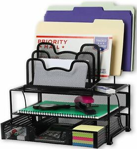 Mesh Desk Organizer With Sliding Drawer Double Tray And Sorter Sections Black