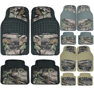 Jungle Camouflage Truck Rubber Floor Mats Front Rear Set Hunting Camo Design