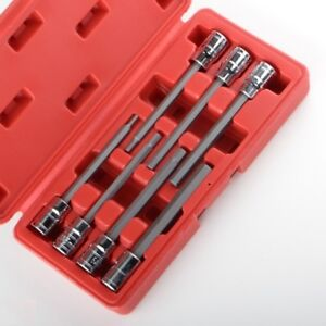 3 8 Metric Extra Long Hex Allen Bit Socket Set 7pc With Case New Free Shipping