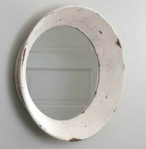 Rustic Tan Chippy Tin New Large Round Dutch Wall Mirror