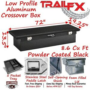120722 Trailfx 72 Black Aluminum Crossover Truck Tool Box Low Profile Lid