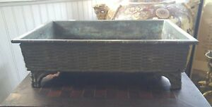 Large 18 Antique Japanese Bronze Footed Bonsai Planter Pot Bamboo Basket Weave