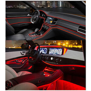 4m Car Dashboard Panel Trim Neon Red Led Light Glow El Wire String Strip Decor