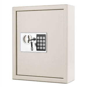 Key Cabinet Digital Lock gray Wall Mounted 40 Key Security Box Storage Safe