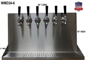 Wall Mount Beer Dispenser 6 Faucets Steel Draft Beer Tower Made In Usa Wmd24 6
