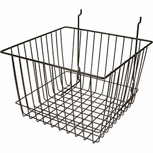 Econoco Deep Basket For Slatwall Gridwall Or Pegboard 6 pk 12inlx12inwx8inh