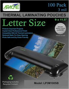 100pcs Clear 3mil Thermal Laminating Pouches Sheets 9 X 11 5 Letter Size Rounded