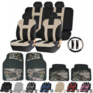 Premium Polyester Car Truck Seat Covers Jungle Camo Rubber Mats Set For Toyota