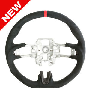 Handkraftd 15 16 17 Ford Mustang Steering Wheel Black Alcantara W Silver Thread