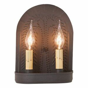 Country New Black Double Wall Sconce W Punch Willow Design