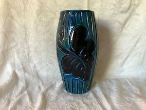 Mid Century Italian Blue Glazed Carved Pottery Vase 9 75 Tall Made In Italy