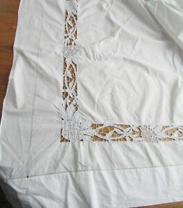 Antique Linen Sheet 2 Pillowcases Embroidery Pierced 3 Very Fine Panel Homespun