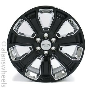 New Chevy Silverado Avalanche Factory Oem 22 Black Chrome Wheels Rims Ck647 Sgm