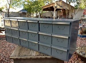 Vintage Dayton Steel Industrial 18 Drawer Parts Cabinet Bin File Very Good Condi