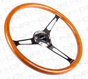 Nrg Classic Retro Wood Grain 360mm Steering Wheel With Chrome 3 Spoke Center