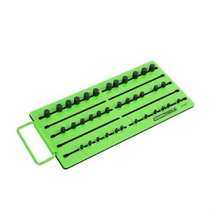 Oemtools 22389 Green Magnetic Socket Tray Accommodates Sae Metric 12 1 4 In