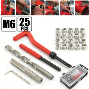 25 Piece M6 Thread Repair Kit Helicoil Compatible 6mm Damaged Threads