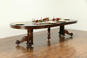 Oak Antique 54 Round Dining Table Lion Paw Feet Extends 10 6 30431