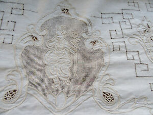 Vintage Figural Tablecloth Lace Embroidery Cherubs Lady W Flower 68 X 136