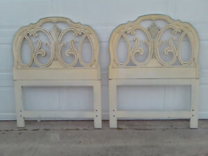 Pair Of Vintage Mid Century French Provincial Scroll Twin Headboards