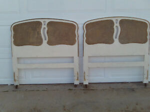 Pair Of Vintage Mid Century Cane Back Twin Headboards Brass Wheels