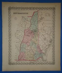 Vintage 1857 New Hampshire Map Old Original Hand Colored Colton S Atlas