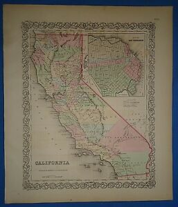 Vintage 1857 California Map Old Original Hand Colored Colton