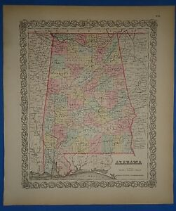 Vintage 1857 Alabama Map Old Original Hand Colored Colton S Atlas
