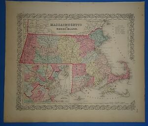 Vintage 1857 Massachusetts Ri Map Old Original Hand Colored Colton S Atlas