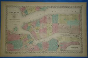 Vintage 1857 New York City Map Old Original Hand Colored Colton Atlas