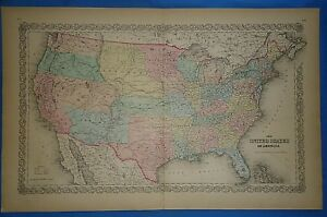 Vintage 1857 United States Territories Map Old Original Hand Colored Colton
