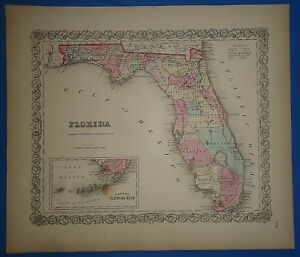 Vintage 1857 Florida Map Old Original Hand Colored Colton S Atlas