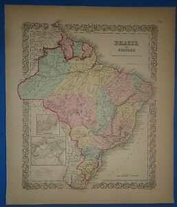 Vintage 1857 Brazil Guiana Map Old Original Hand Colored Colton S Atlas