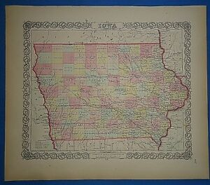 Vintage 1857 Iowa Map Old Original Hand Colored Colton