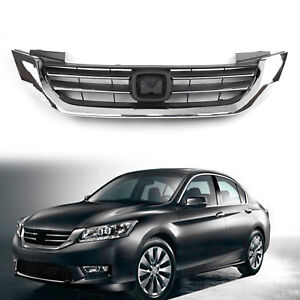 Front Bumper Radiator Upper Chrome Grill Grille For Honda Accord 2013 2015 14 Py