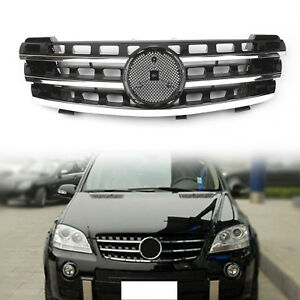 Grill Grille For Mercedes Benz Ml Class W164 2005 08 3 Fin Front Hood Black Chr