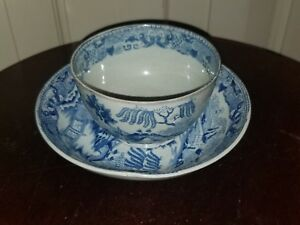 Antique English Pearlware Blue Willow Cup And Saucer