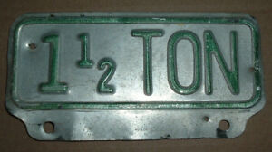 Vintage 1 1 2 Ton Truck License Plate Topper Tag For Ford Chevrolet Gmc Dodge