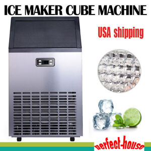 100lbs Auto Commercial Ice Cube Maker Machine Stainless Steel Hotel Bar Drink Us