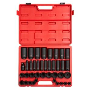 39 Piece 1 2 Drive 12 Point Sae Master Impact Socket Set Sun2698 Brand New