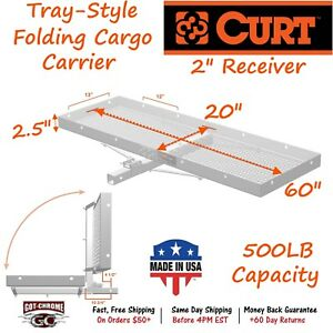 18100 Curt Aluminum Tray Style Cargo Carrier With 500lb Cap For 2 Receiver