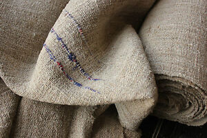 Antique Hemp Fabric Upholstery Material 15 1 Yards By 23in Wide Rare Dark Rustic